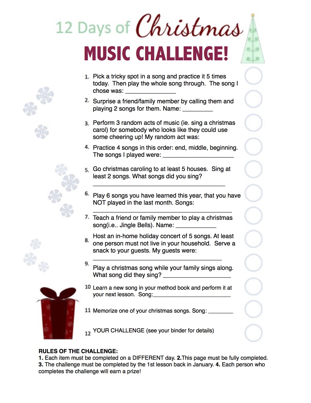 Christmas Challenge.The Music Studio Music Studio News